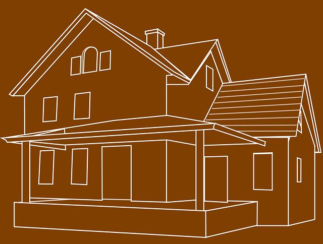 hnědé pole, bílý kreslený dům