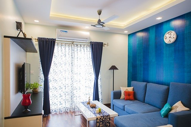 obývací pokoj, modrá barva